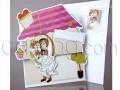 Весела цветна покана с младоженци и къща № 34927