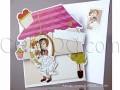Забавна цветна картичка за сватба с младоженци и къща № 34927