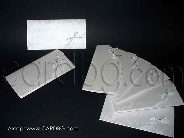 Стилна покана от сатениран картон с панделки и циркон