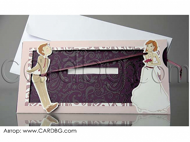 Сватбени покани с издърпване № 34932