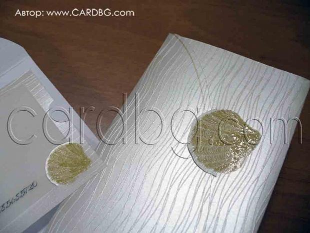 Луксозна морска картичка с мида в перлен цвят № 32425