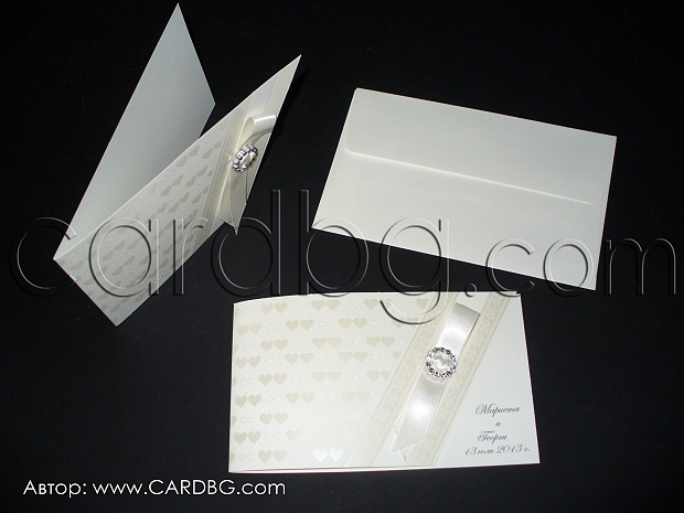 Нежни сватбени покани в бяло и цвят шампанско № 32841