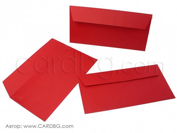 Пликове за писма, картички и покани, пощенски пликове, червени, 22х11 см