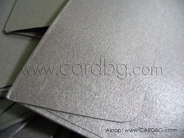 Сребърен перлен пощенски плик с лента