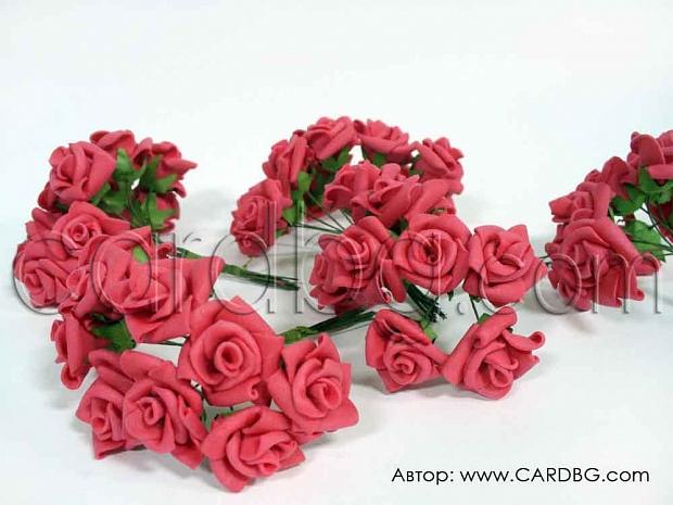 Малки декоративни гумени рози, цвят корал, 10 бр във връзка