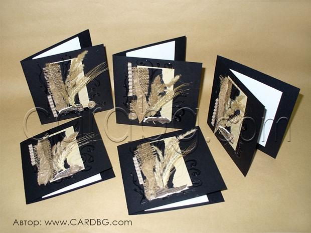 Ръчно изработени картички квадратни с естествени материали