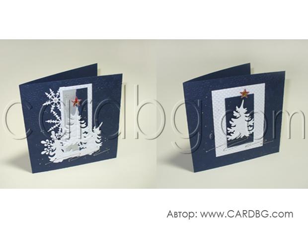 Квадратни новогодишни картички в синьо