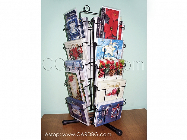 Настолен метален въртящ стелаж за картички с 20 широки позиции
