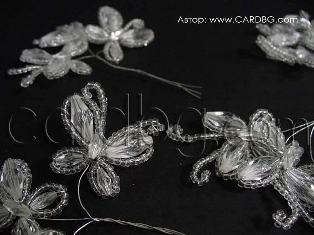 Бели прозрачни пеперуди от мъниста за декорация - 3 бр