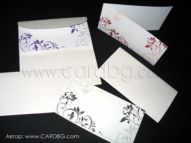 Сватбени покани в лилаво, черно и бордо с луксозна папка № 32400 а