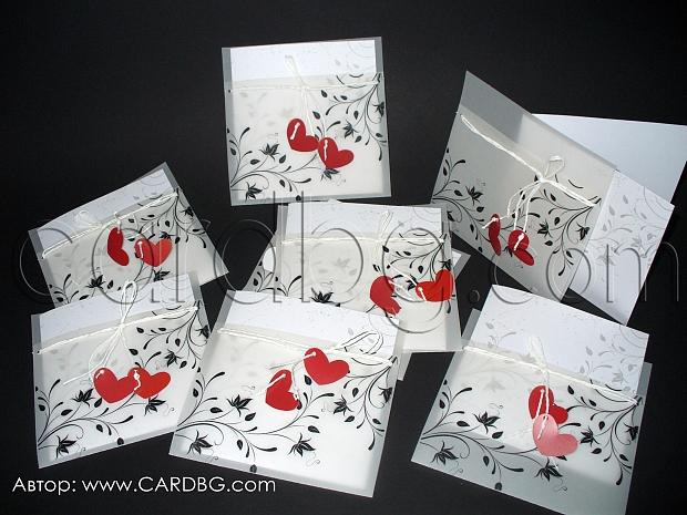 Покана в бяло и черно с червени сърца и паус № 32705 с
