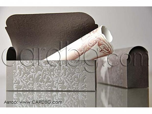 Луксозна покана папирус с кутия тип сандъче и органза № 34909