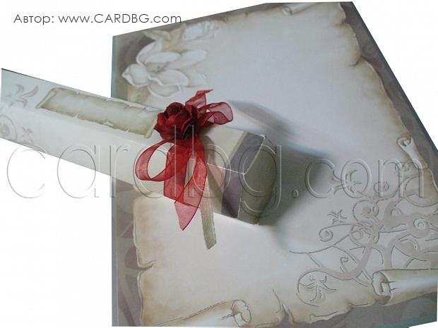 Свитък с кутия с червена панделка и роза № 30109 д