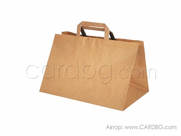 Хартиена торба крафт широко дъно 32х24х22 см 10 бр код 3459