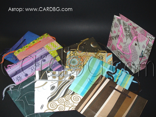 Код 15: малки квадратни торбички цветове микс размер 15,5х18х6 см