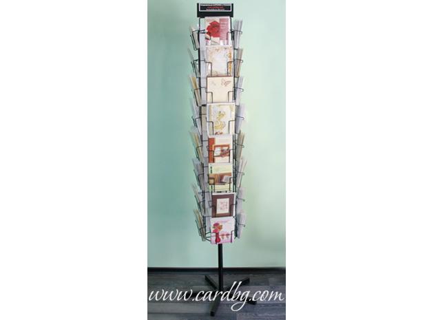 Метална въртяща стойка, щендер за картички с 36 широки гнезда