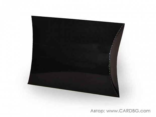 Голяма кутия за подарък тип възглавница черна 34х30х6 см