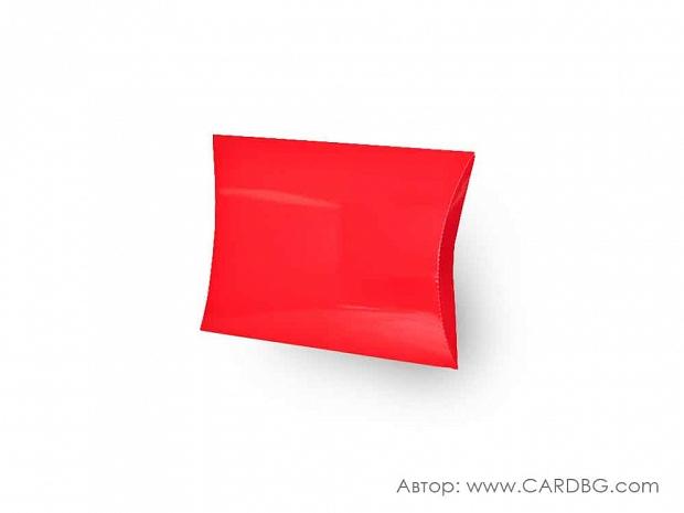 Кутия за подарък тип възглавница червена 23х20х5 см