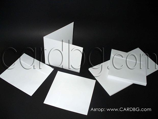 Бял картон, основа за покани с бял пощенски плик-20 бр