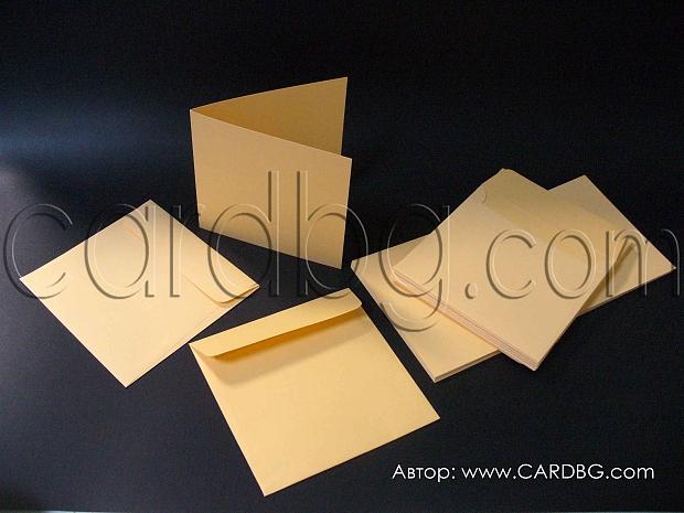 Картон с плик за изработване на картички, цвят праскова, 20 бр
