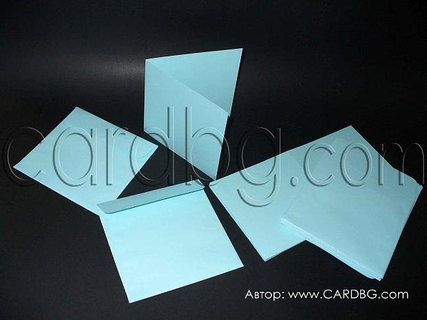 Заготовки за покани плик с основа-картон с биг, светло сини, 20 броя
