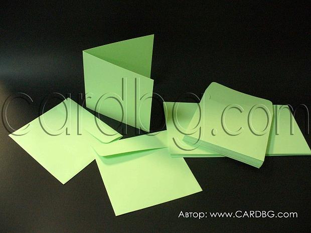 Заготовки за картички квадратни  зелени, 20 бр