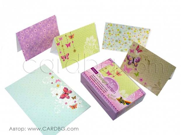 Картички и пликове, основи с брокатени елементи 15х10,5 см, 25 бр